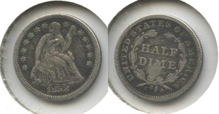 1852 Seated Liberty Half Dime Fine-12 Obverse Hits