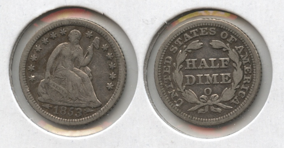 1853-O Seated Liberty Half Dime Fine-12
