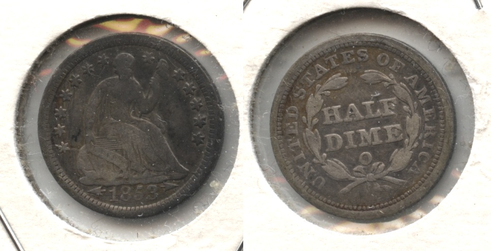1853-O Seated Liberty Half Dime Fine-12 #a