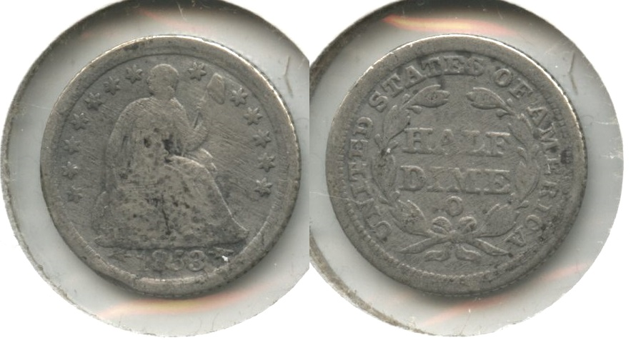 1853-O Seated Liberty Half Dime Good-4 #f Acid
