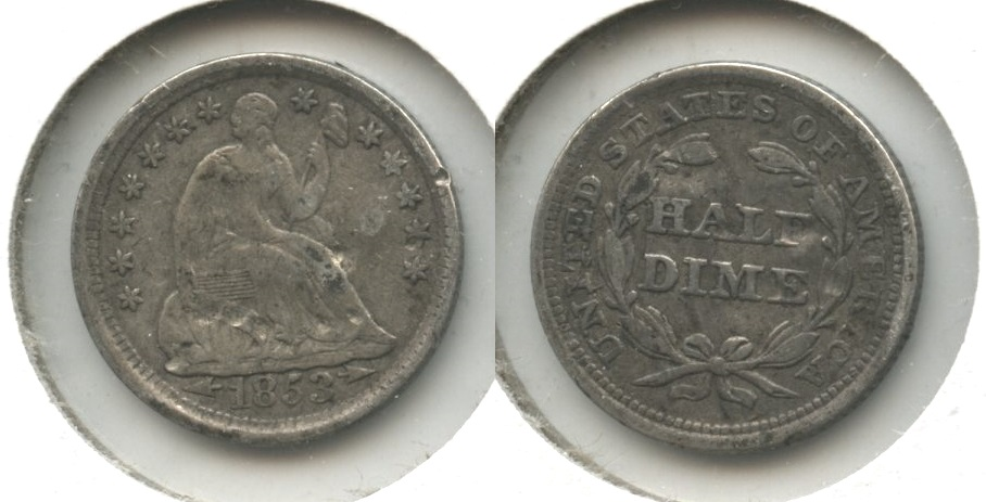 1853 Seated Liberty Half Dime Fine-12 #d Obverse Bumps