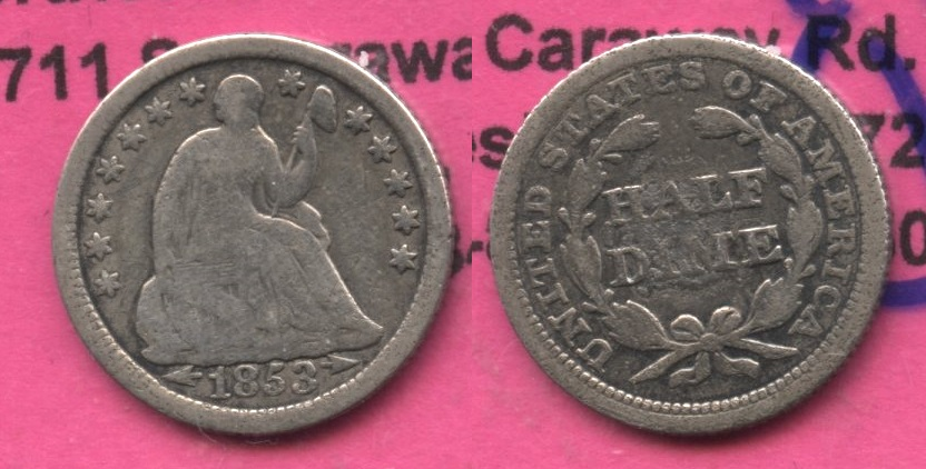 1853 Seated Liberty Half Dime Good-4 #ac Cleaned