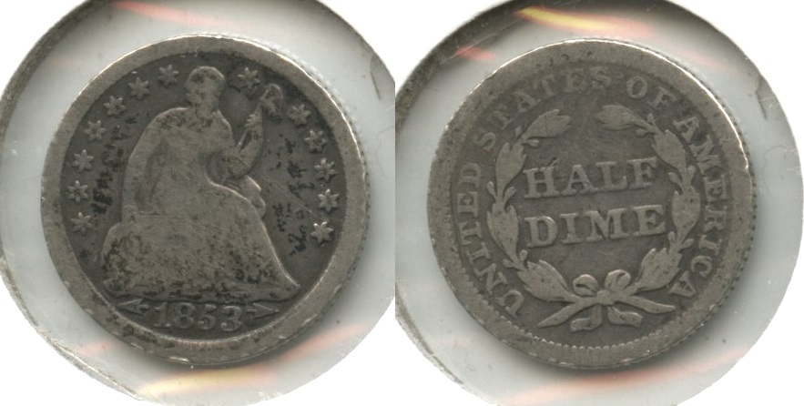 1853 Seated Liberty Half Dime Good-4 #ae Obverse Scratch