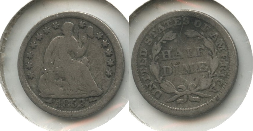 1853 Seated Liberty Half Dime Good-4 #ar Reverse X