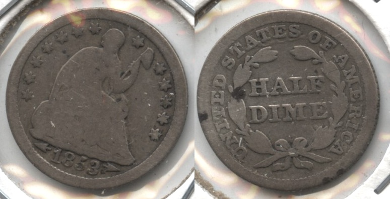 1853 Seated Liberty Half Dime Good-4 #o