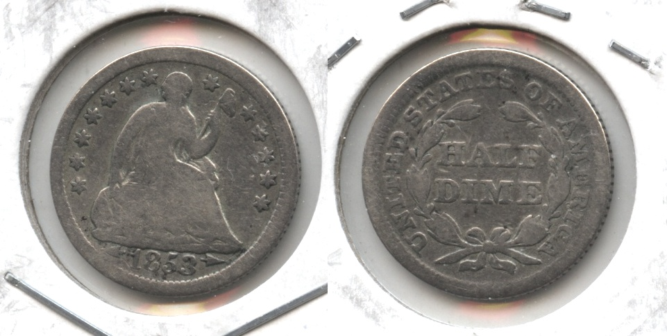 1853 Seated Liberty Half Dime Good-4 #z Warped