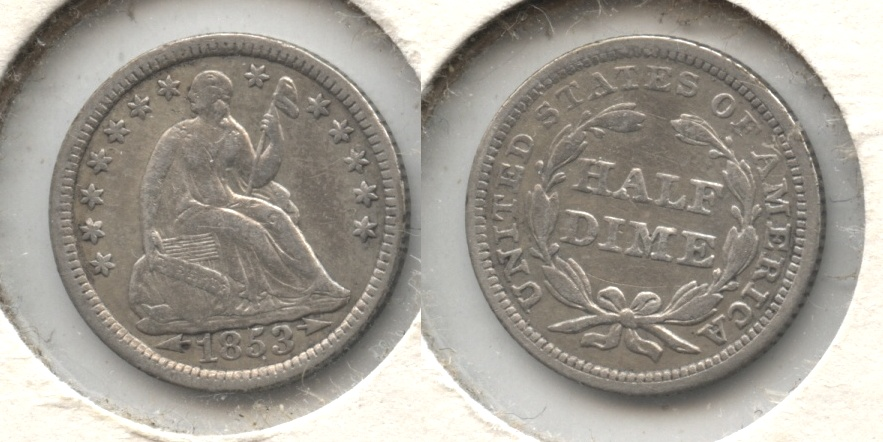 1853 Seated Liberty Half Dime VF-20 #a Old Cleaning