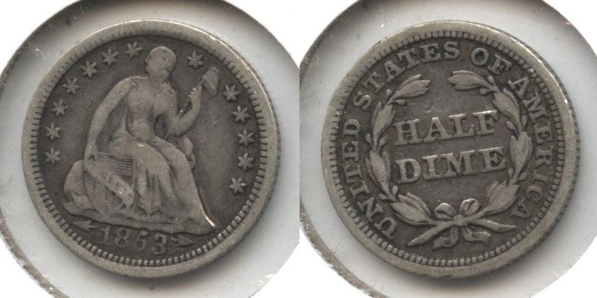 1853 Seated Liberty Half Dime VG-8 #c