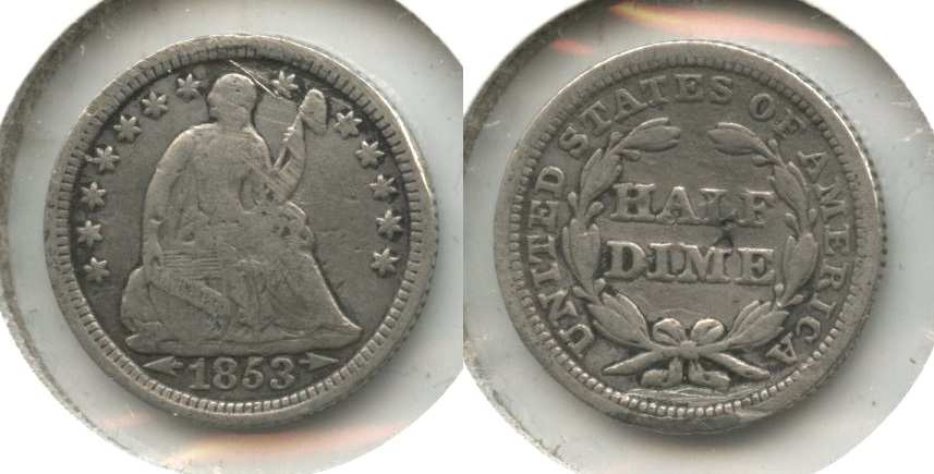 1853 Seated Liberty Half Dime VG-8 #d Reverse Punch