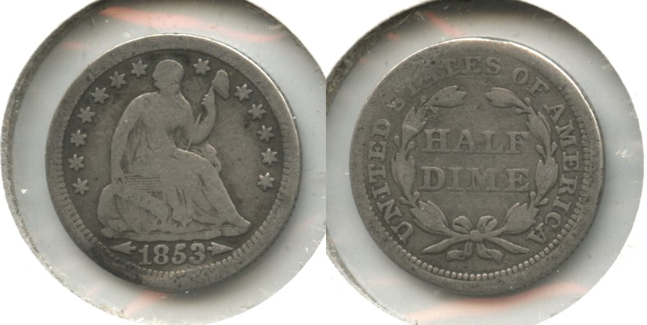 1853 Seated Liberty Half Dime VG-8 #e Slight Warp