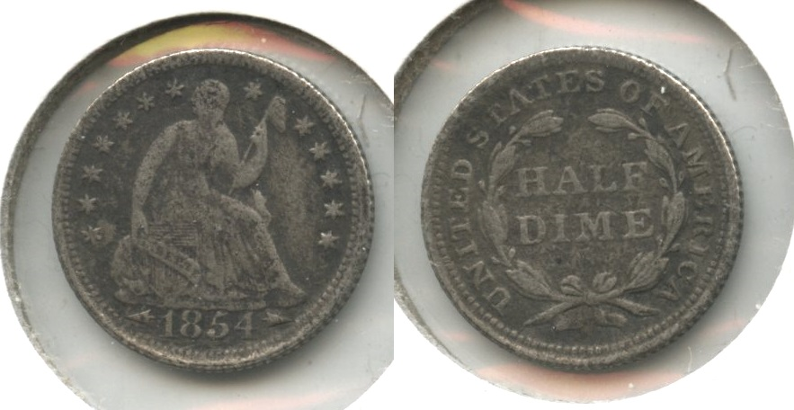 1854 Seated Liberty Half Dime Fine-12 Light Porous
