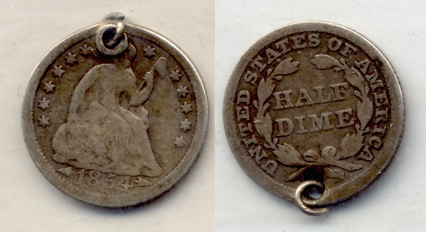 1854 Seated Liberty Half Dime Good-4 a Looped