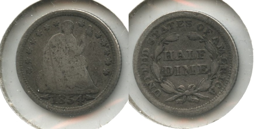 1854 Seated Liberty Half Dime Good-4 #j Obverse Scratch