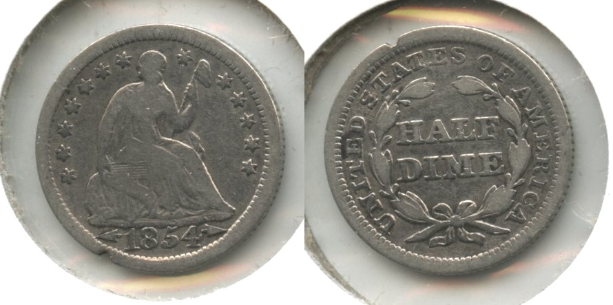 1854 Seated Liberty Half Dime Good-4 #l Cleaned