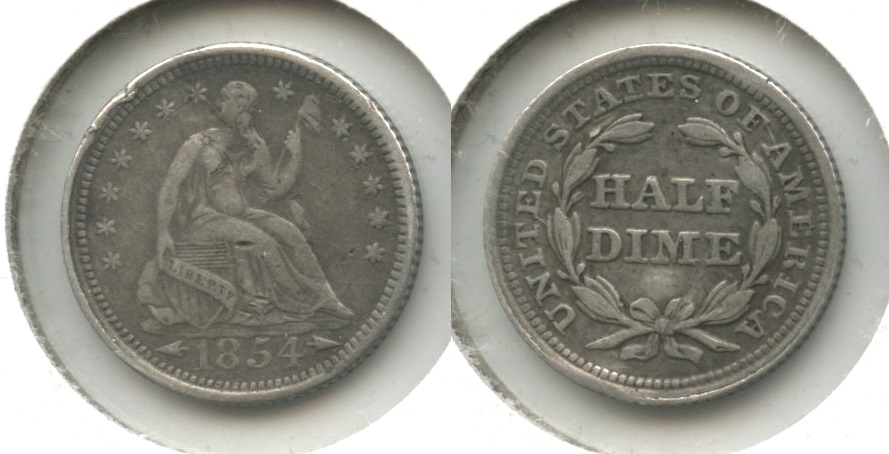 1854 Seated Liberty Half Dime VF-20 Obverse Bump