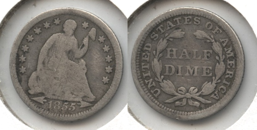 1855 Seated Liberty Half Dime Good-4