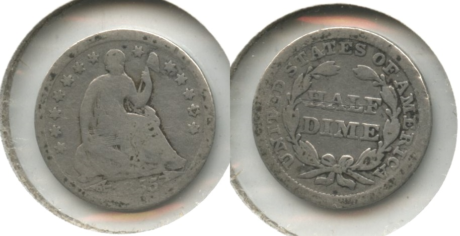 1855 Seated Liberty Half Dime Good-4 #d Reverse Scratch