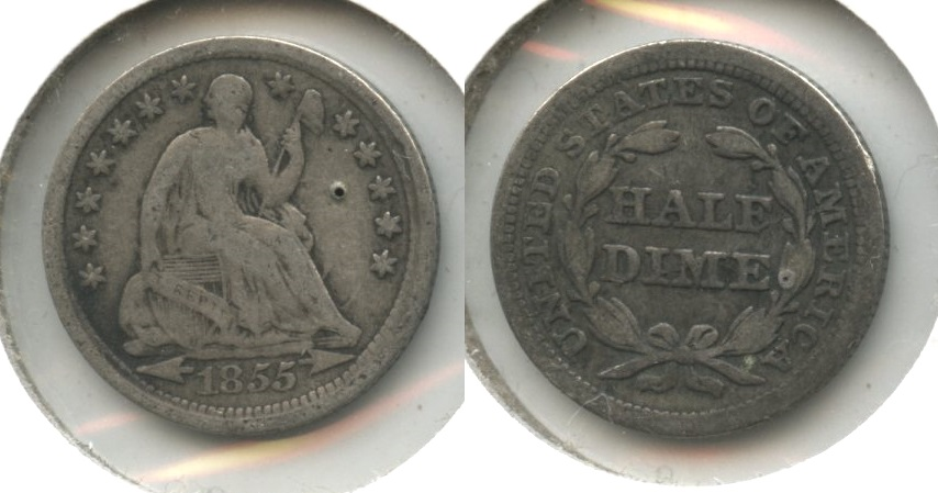 1855 Seated Liberty Half Dime VG-8 #a Obverse Pit