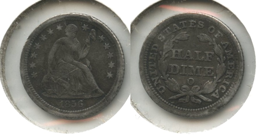 1856-O Seated Liberty Half Dime Fine-12 #a Obverse Scratch