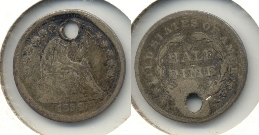 1856 Seated Liberty Half Dime Good-4 a Holed
