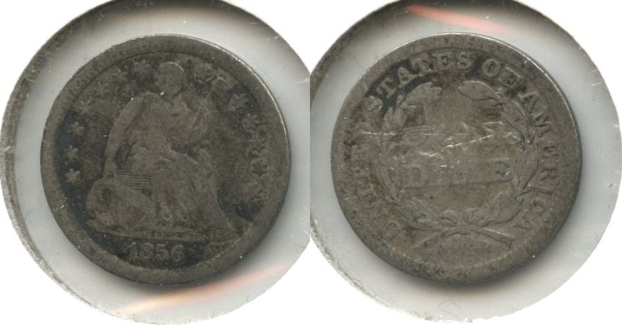 1856 Seated Liberty Half Dime VG-8 #d Reverse Scrapes