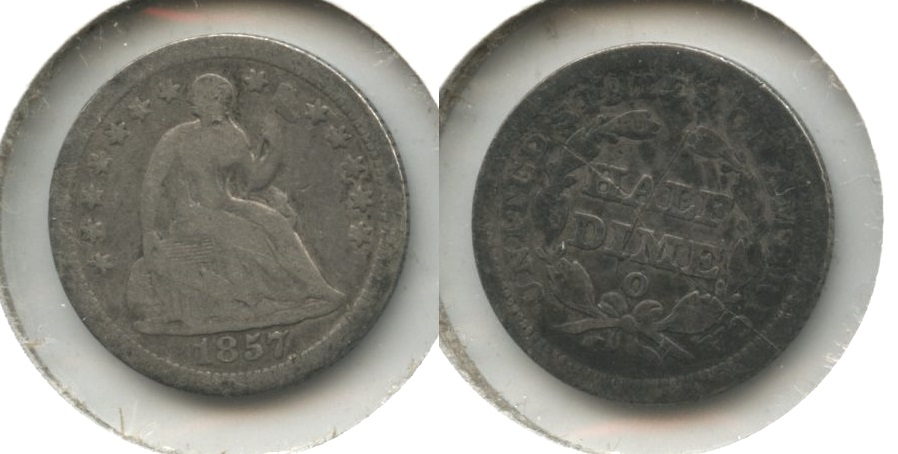 1857-O Seated Liberty Half Dime Good-4 #b Reverse Scratch