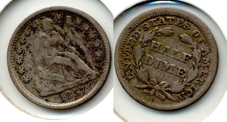 1857 Seated Liberty Half Dime Fine-12 a