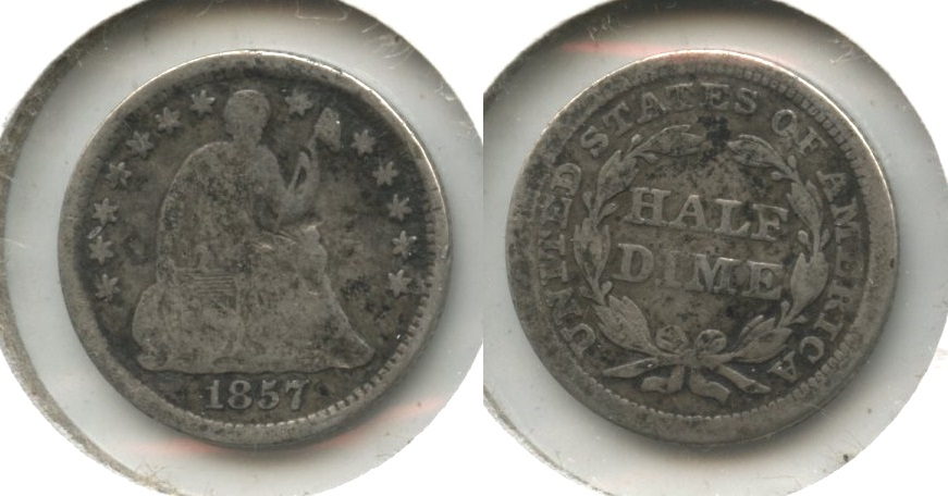1857 Seated Liberty Half Dime Good-4 #q Obverse Hits