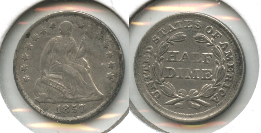 1857 Seated Liberty Half Dime VF-20 #k Old Cleaning