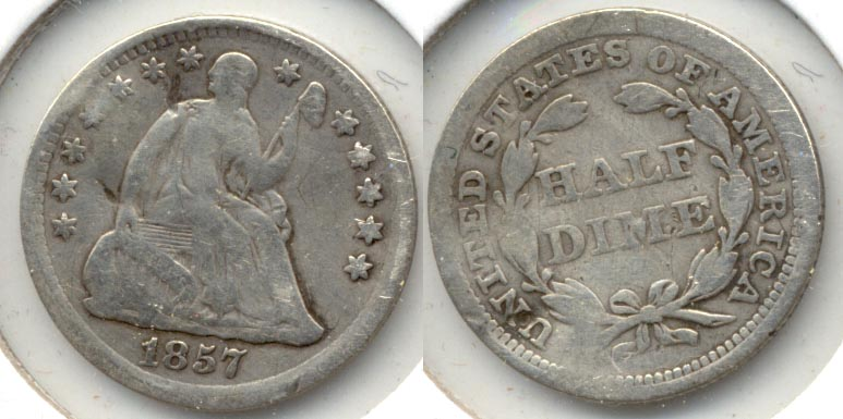 1857 Seated Liberty Half Dime VG-8 a Warped
