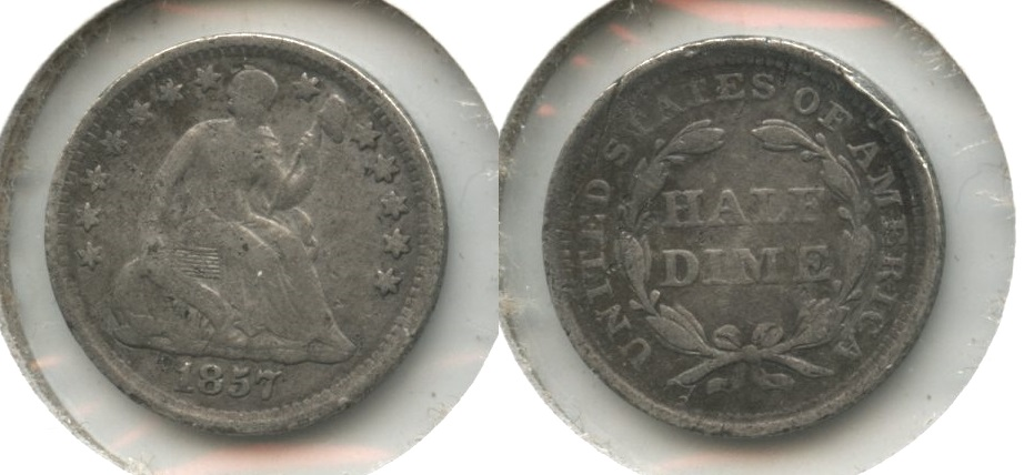 1857 Seated Liberty Half Dime VG-8 #g Light Damage