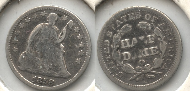 1858-O Seated Liberty Half Dime Good-4 Cleaned #c