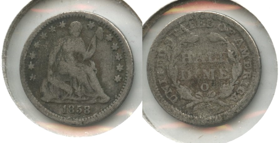 1858-O Seated Liberty Half Dime Good-4 #e Old Scratches