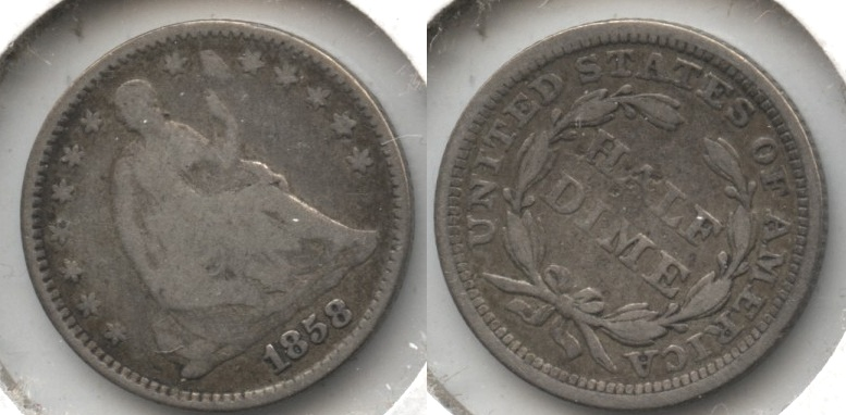 1858 Seated Liberty Half Dime Good-4 Reverse Bump #b