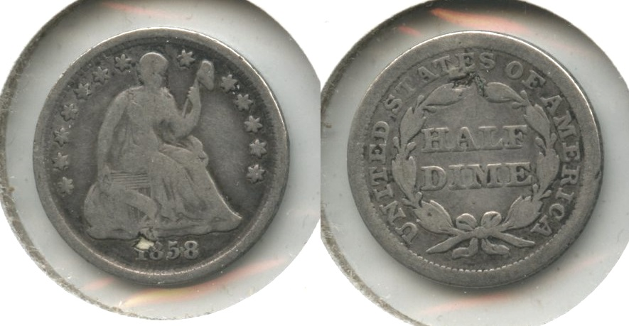 1858 Seated Liberty Half Dime Good-4 #g Plugged
