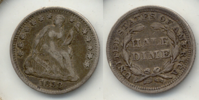 1858 Seated Liberty Half Dime VF-20 a