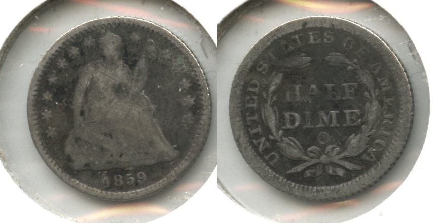 1859-O Seated Liberty Half Dime Good-4 #a Light Scratches