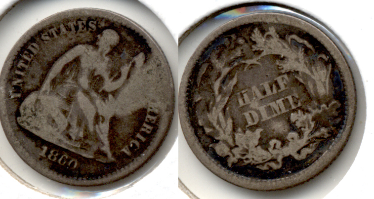 1860 Seated Liberty Half Dime Good-4 Warped