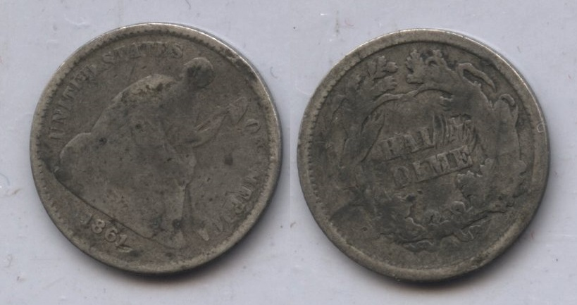 1861 Seated Liberty Half Dime AG-3