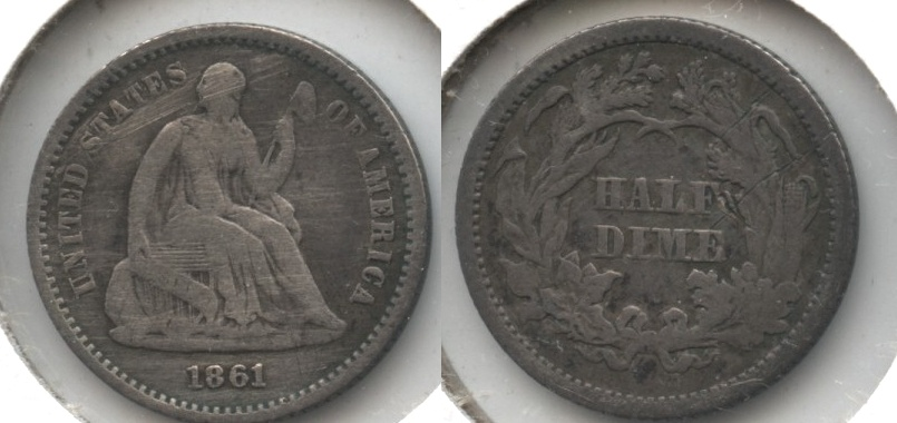 1861 Seated Liberty Half Dime VG-8 Cleaned Obverse