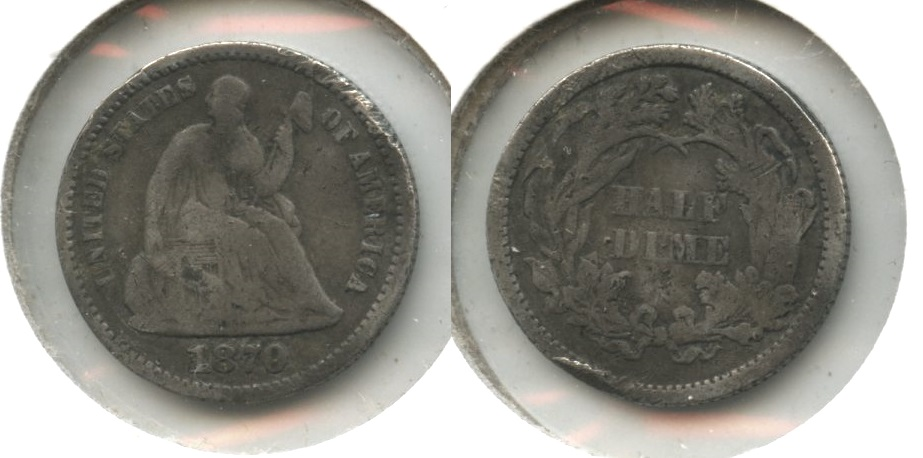 1870 Seated Liberty Half Dime Good-4 #a Some Damage