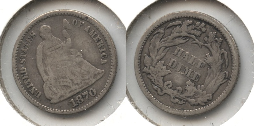 1870 Seated Liberty Half Dime VG-8 Obverse Scratch