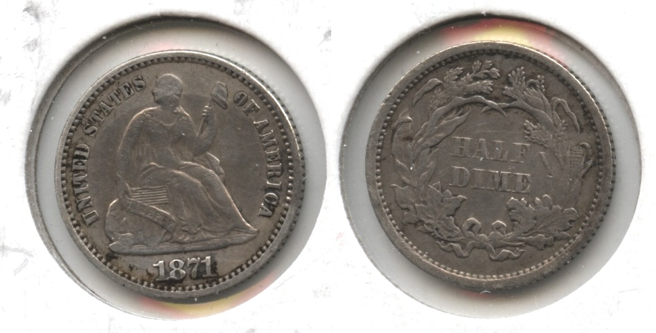1871 Seated Liberty Half Dime EF-40 #b Clear Matter