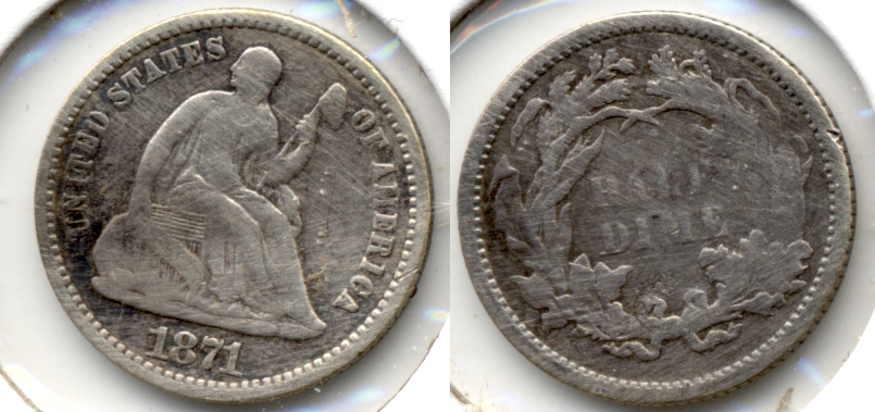 1871 Seated Liberty Half Dime VG-8 Cleaned