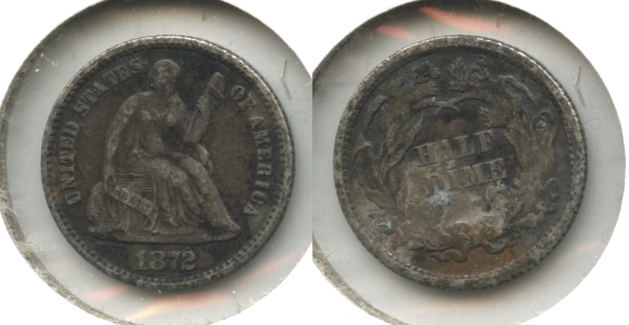 1872 Seated Liberty Half Dime Fine-12 #a Dark