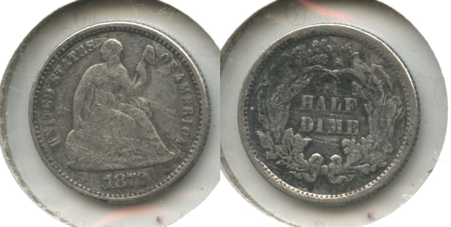 1872 Seated Liberty Half Dime Good-4 #d Light Scratches