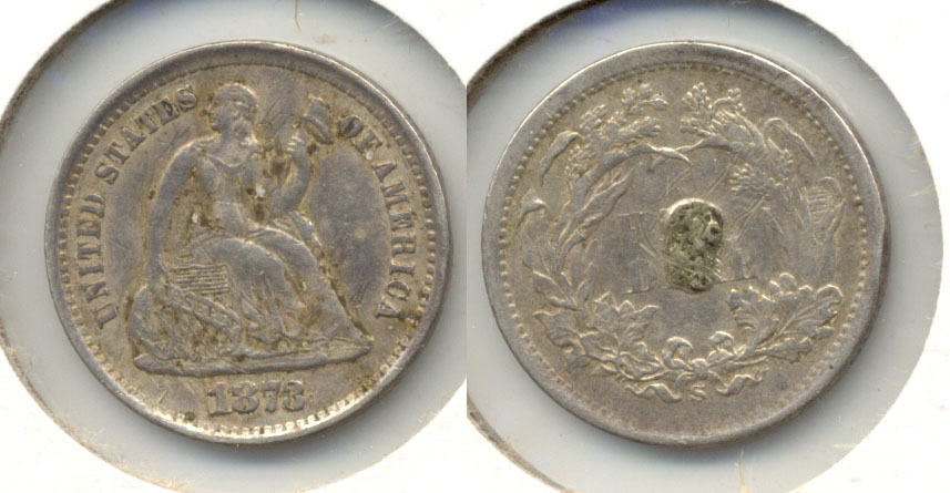 1873-S Seated Liberty Half Dime EF-40 a Plugged