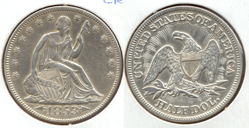 1853 Seated Liberty Half Dollar AU-50 Cleaned