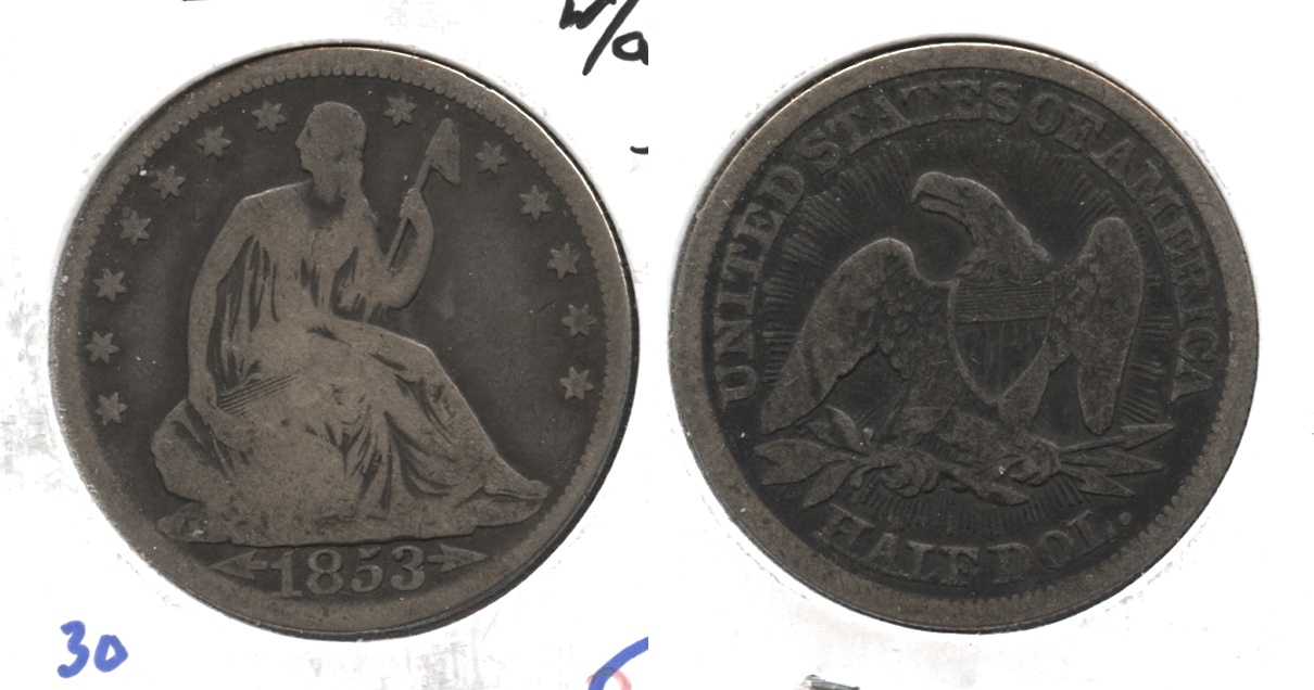 1853 Seated Liberty Half Dollar Good-4