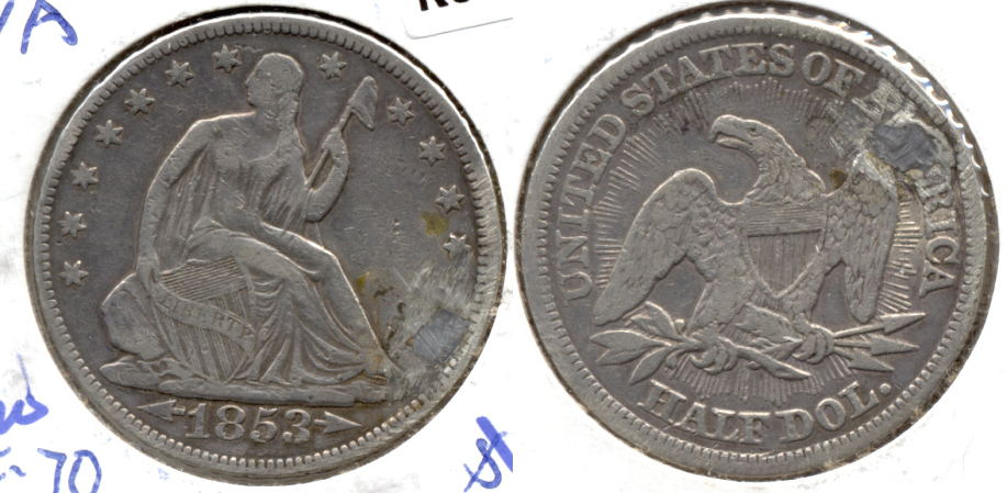1853 Seated Liberty Half Dollar VF-20 a Plugged